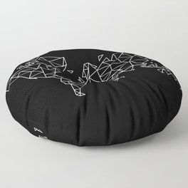 White on Black Geometric Low Poly Map of The World / Polygon geometry Floor Pillow