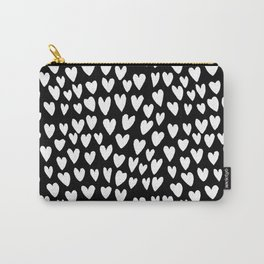 Linocut printmaking hearts pattern minimalist black and white heart gifts Carry-All Pouch