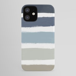 Blue & Taupe Stripes iPhone Case