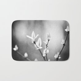 Black and White Nature Photography, Dark Grey Tree Branches, Gray Neutral Botanical Branch Leaves Bath Mat