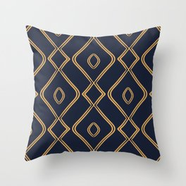 Modern Boho Ogee in Navy & Gold Throw Pillow