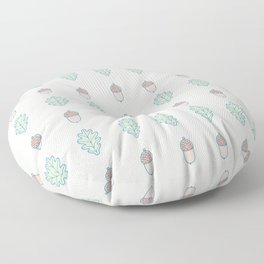 Outlined Acorn and Oak Leaves Pattern Floor Pillow