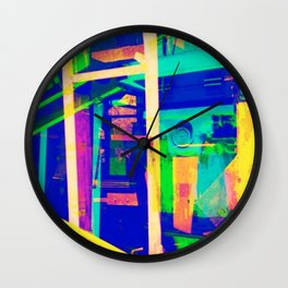 Industrial Abstract Blue Wall Clock