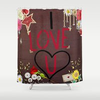 murakami Shower Curtains featuring I love you saying on wooden background by Marcy Murakami