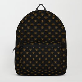 Small Bright Gold Metallic Foil Bees on Black Backpack