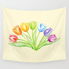 Rainbow Tulips, Flowers with Yellow Background Wall Tapestry