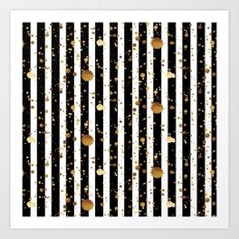 Stripes & Gold Splatter Art Print