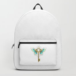 Golden Key with Butterfly Wings Backpack