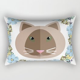 Cat&Flowers Rectangular Pillow