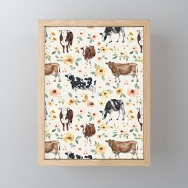 Cows with Pink and Yellow Flowers on Cream, Cow Illustration, Floral Framed Mini Art Print