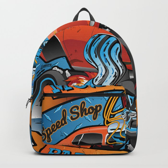 Classic Sixties Muscle Car Parts & Service Cartoon Backpack
