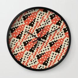 Chocktaw Geometric Square Cutout Pattern - Iron Oxide Wall Clock