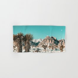 Vintage Lovers Cacti // Red Rock Canyon Mojave Nature Plants and Snow Desert in the Winter Hand & Bath Towel