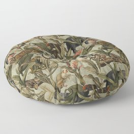 Antique Exotic Animals And Safari Jungle  Floor Pillow