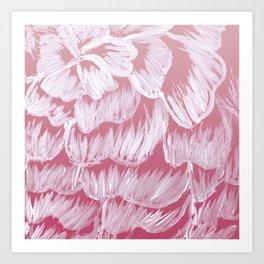 White Dahila over Pink Ombre Art Print