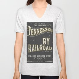 Tennessee railroad poster Unisex V-Neck