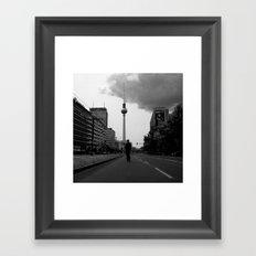 a boy on an empty street Framed Art Print