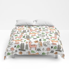 Woodland foxes rabbits deer owls forest animals cute pattern by andrea lauren Comforters