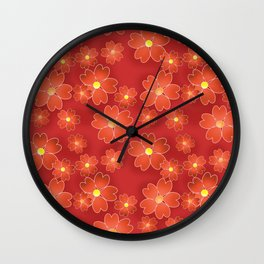 Red orange flowers on an orange background . Wall Clock