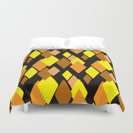 Black and yellow abstract pattern. Diamonds . Duvet Cover