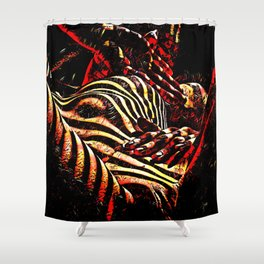 1206s-AK Abstract Striped Nude Rendered in Red Yellow and Gold Shower Curtain