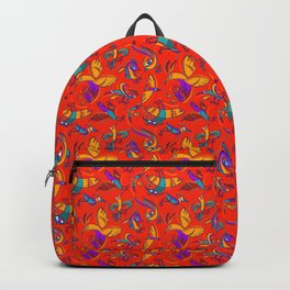 Pattern with Firebirds (on red background) Backpack