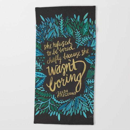 Zelda Fitzgerald – Blue on Black Beach Towel