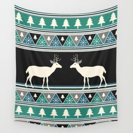 Christmas pattern with deer Wall Tapestry