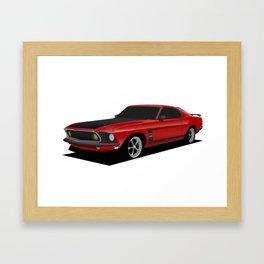 Mustang Boss Red Framed Art Print