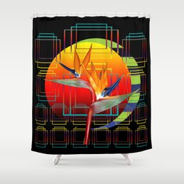 Bird of Paradise flower by sunset Shower Curtain