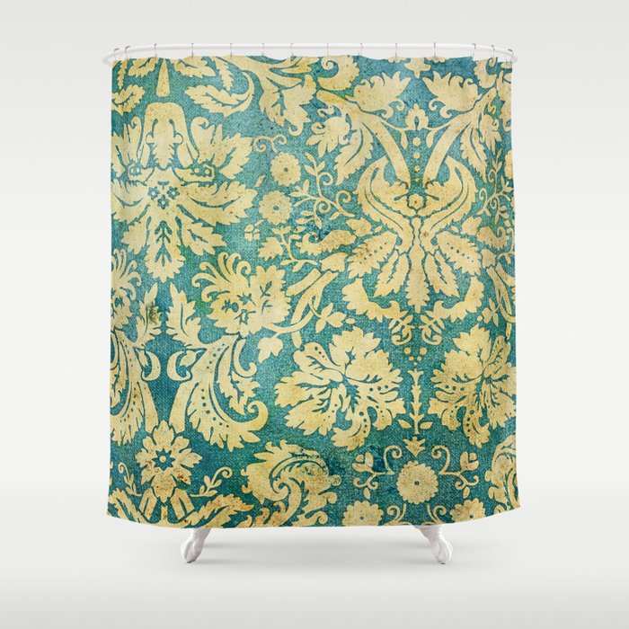 Vintage Antique Green And Gold Pattern Wallpaper Shower Curtain By Dec02