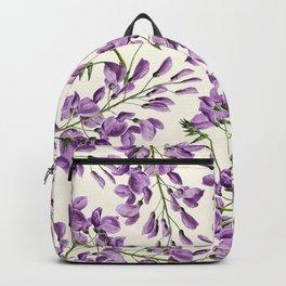 Boho forest green lavender lilac wisteria floral pattern Backpack