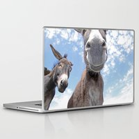 donkey Laptop & iPad Skins featuring Funny Donkey by Claudia Otte ArtOfPictures