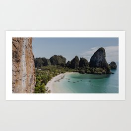 Longtail Boats On Railay Beach, Krabi, Thailand Art Print