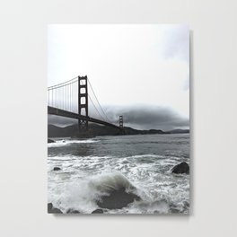 Overcast Golden Gate - B&W Metal Print