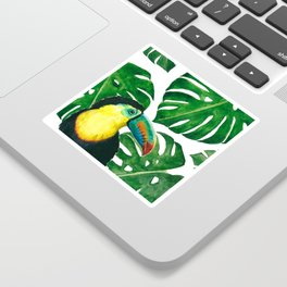 Toucan parrot with monstera leaf pattern Sticker