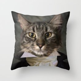 Dapper Cat Throw Pillow