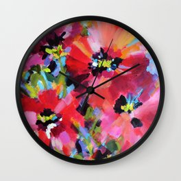 Wildflowers and Poppies Wall Clock