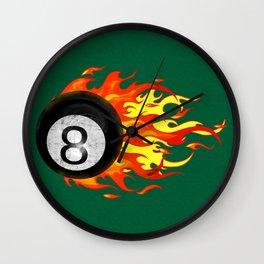 Flaming 8 Ball Wall Clock