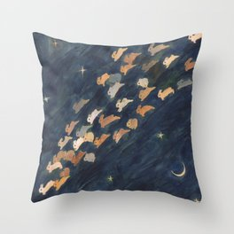 The moon, Venus and shooting star Throw Pillow