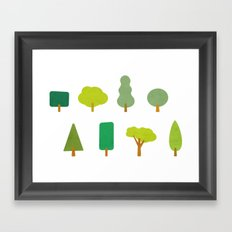 Trees and shapes Framed Art Print