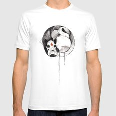 Skull Cat Inktober Mens Fitted Tee 2X-LARGE White