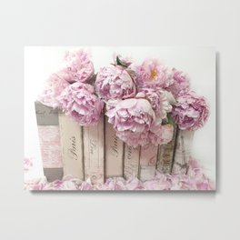 Shabby Chic Pink Peonies Paris Books Wall Art Print Home Decor Metal Print