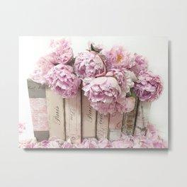 Shabby Chic Pink Peonies Paris Books Wall Art Print Home Decor Metal Print