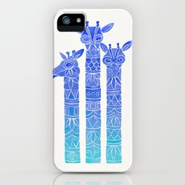 Giraffes – Blue Ombré iPhone Case