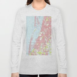 Vintage Map of Clearwater Florida (1974) Long Sleeve T-shirt