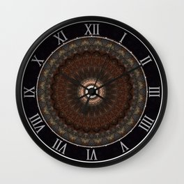 Detailed mandala in brown tones Wall Clock