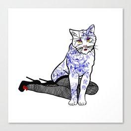 Porcelain Inked Cat Canvas Print