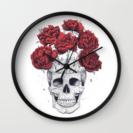 Skull with peonies Wall Clock