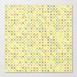 Random Lilac Dots on Yellow Pattern Canvas Print